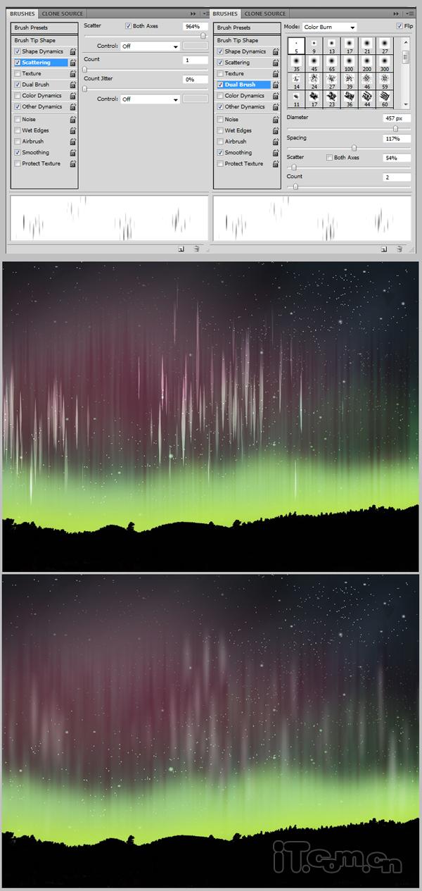 Photoshop制作夜空中漂亮极光