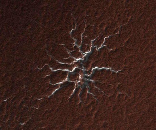 火星发现怪异地形图案形似蜘蛛(组图)