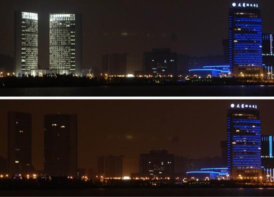 图文:我国各地建筑熄灯进入地球一小时