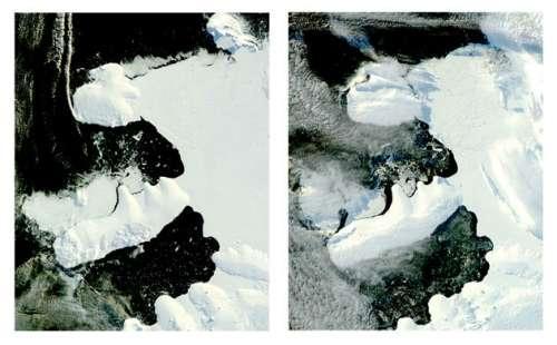 英媒公布4月地球卫星照片:拍到飞机尾迹(图)