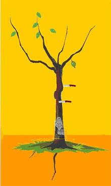 8、解释:红绿叶少,逢刀子,树枝多克妻轻,树枝少克妻重,再无主根多重婚