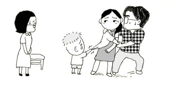 妈妈拥抱宝宝的简笔画_菜虫听到爸爸妈妈在问水果摊的胖叔叔:\