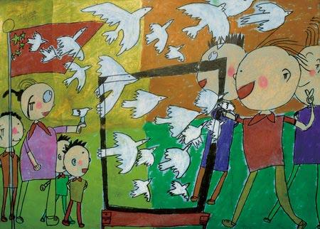 我心中的祖国   作品阐述:我画的是,有很多小朋友在放飞和平鸽子,然后