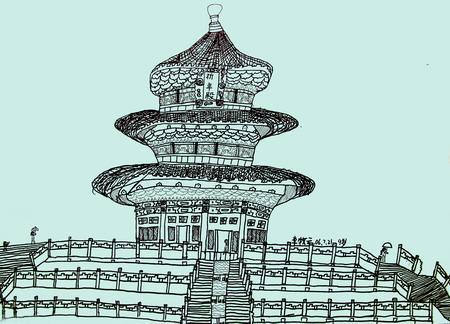 图为:《采风天坛》线描 54.5×39(cm) 李牧云 9岁