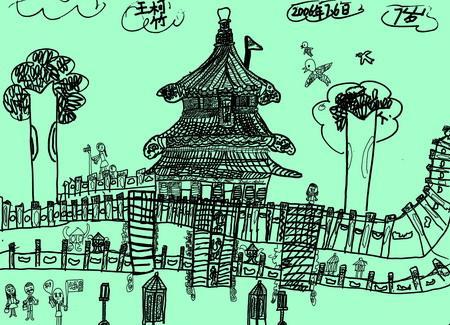 建筑线描画; 组图:皇家宫苑之天坛(11); 图片