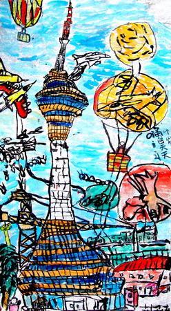 建国70周年儿童手绘画