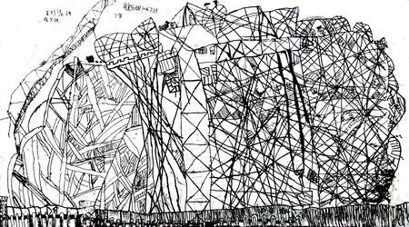 国外建筑线描手绘