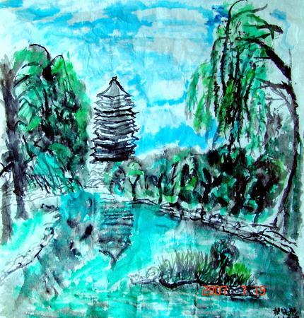 图为:《采风北大》水墨画  尺寸60×60(cm) 郝晓彤