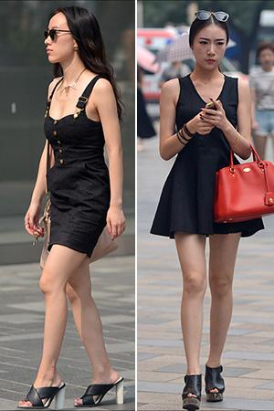 街拍:夏日连衣裙美女婀娜性感