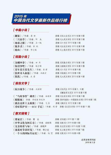 2015年中国当代文学最新作品排行榜新鲜出炉