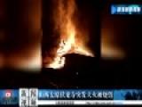 现场-太原伏龙寺突发大火被烧只剩骨架