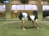 日本女相扑训练画面曝光 与男选手激烈对抗