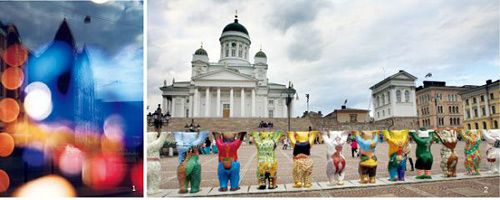 """赫尔辛基的建筑很有特色,尤其是从某些特别的角度看更有味道;议会广场的彩绘""""柏林熊"""",一共有125 个,甚是壮观。"""