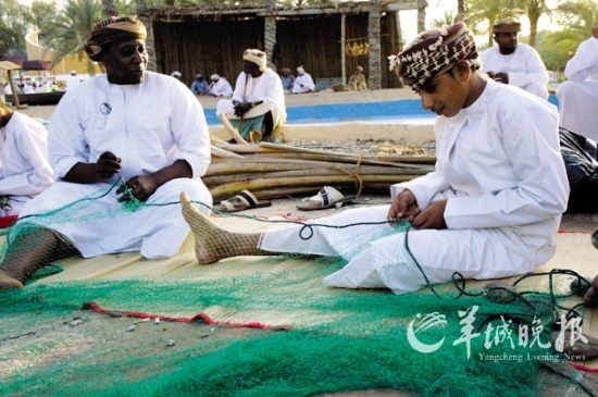 阿曼南方的织渔网方式