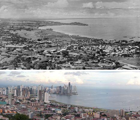 巴拿马城1930年和2009年对比照