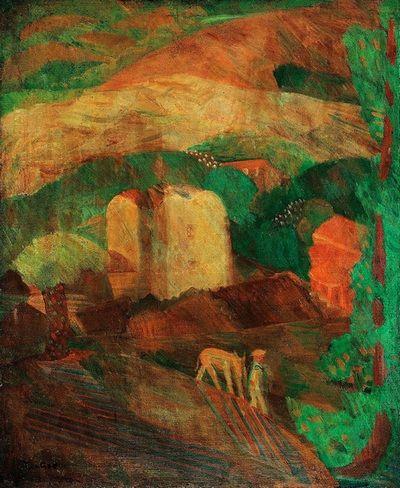 朱沅芷《有驴子与房子的风景》油彩画布 73.7×61cm 1930