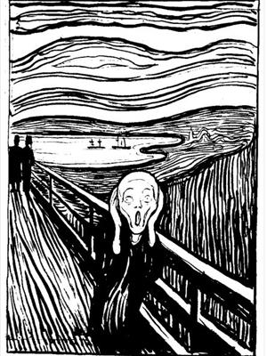 第二版的《呐喊》(1895年版)是平面印刷版,藏于挪威蒙克博物馆,