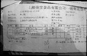 市质监局查获的上海佳宝食品〗有限公司部分产品销♂往希尔顿的送货单。