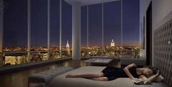 One57公寓效果图 夜晚纽约标准性建筑帝国大厦等尽收眼底。(图片来源:One57官方网站)