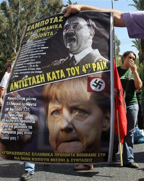 """假设事态继续这么恶化下去,那么希腊,西班牙,甚至是意大利的国内压力只会越来越大,带来经济层面,甚至政治层面的诸多变故。""""反德""""的情绪将演化成一股强大的旋风,摧毁整个欧盟原本已经动摇的合心力。而这一点,和美国人明的阴的的金融手段也没太大关系。(图片来源:每日电讯报)"""