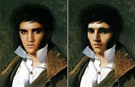 猫王的这幅原型是安格尔(Jean-Auguste Dominique Ingres)的画作,猫王比画中人更多一份英气。