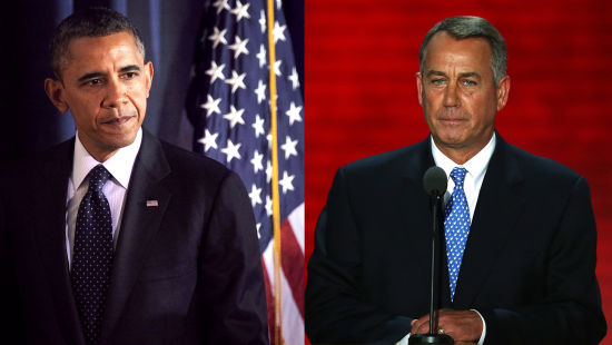美国总统奥巴马与众院议长约翰-博纳最近因政府关门吵得不可开交。
