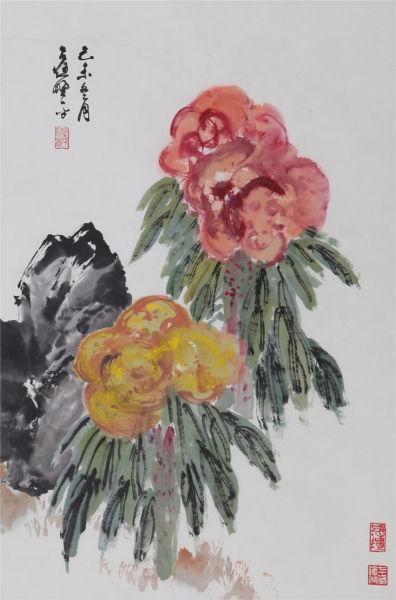 应野平 《鸡冠花》 67.5×45cm 设色纸本 立轴