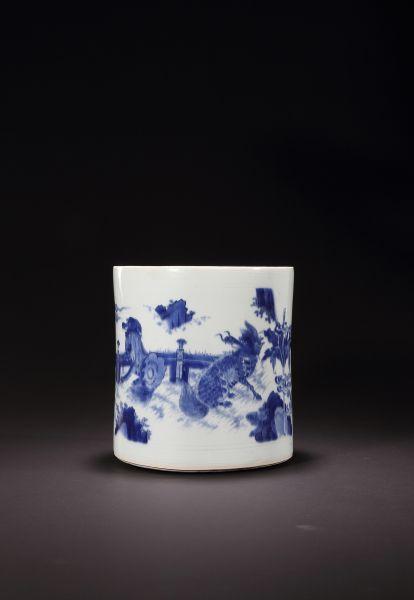 明崇祯,青花麒麟纹笔筒,D:20.5cm