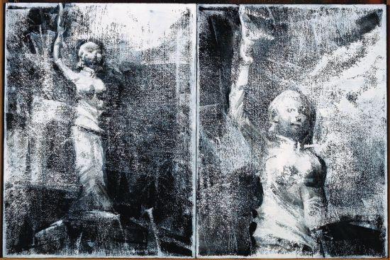 何晋渭作品 故乡行-雕像 The statue 校园 Campus 30x40cmx2 布面油画 2013