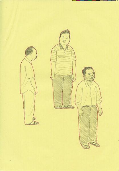 手绘漫画人物,都是艺术家以其家乡市政府中的每一个公务员为原型绘制.
