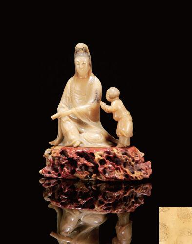 ●清康熙 玉琁款圆雕芙蓉石童子拜观音摆件