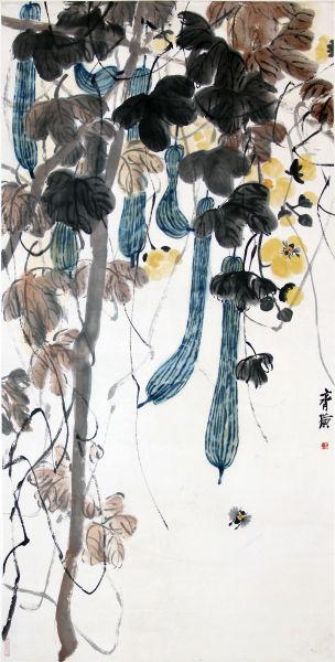 齐白石 丝瓜图135×68cm