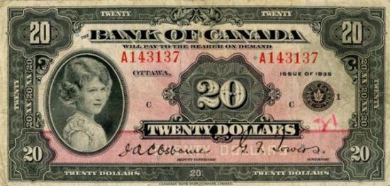 8岁,这时候的伊丽莎白还只是英王室的一位公主,她的肖像就已经出现在了加拿大的钞票上。