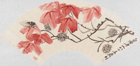 齐白石 《秋蝉红枫》设色纸本 扇面 19.5×54cm