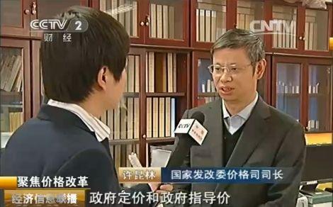 图为国度发改委价钱司司长许昆林承受央视记者采访。