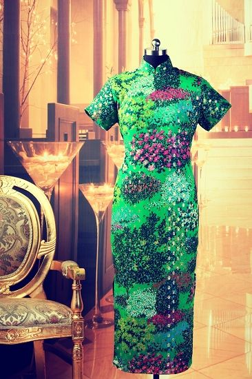 A green floral Mandarin dress from Ms. Song's collection
