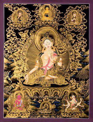 寺庙手工绘画唐卡_密宗藏式黑金白度母图片