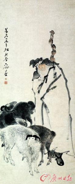 清 苏六朋《苏武牧羊图》(纸本设色,广东顺德博物馆藏)