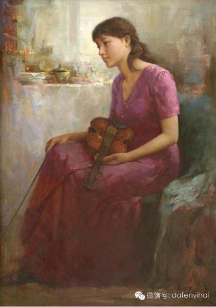 区础坚 《小提琴手》布面油画 115X81cm 2009年 ps:区础坚所画女性人体,具有单纯含蓄的优点.尽管画家掌握了高度的写实技巧,但在表现女性人体时,却决不做处处通真纤毫毕露的描绘。惟其单纯含蓄,才更显纯净雅洁,给人以健康的美感。