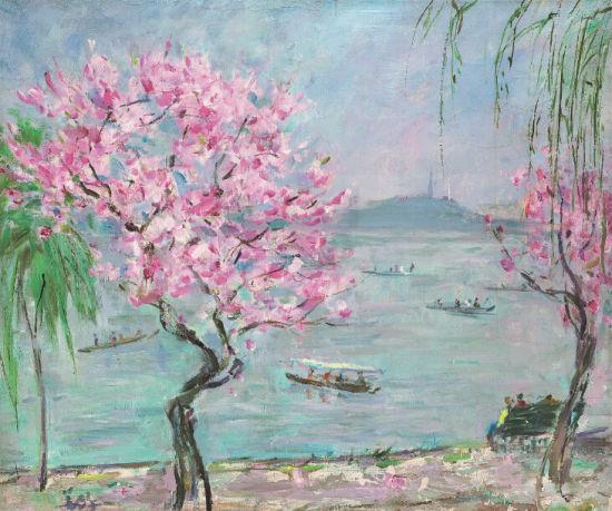 胡善馀 西湖桃花 1976年 布面油画 54×44.5cm 附台湾索卡艺术中心保真证书 RMB 200,000-250,000