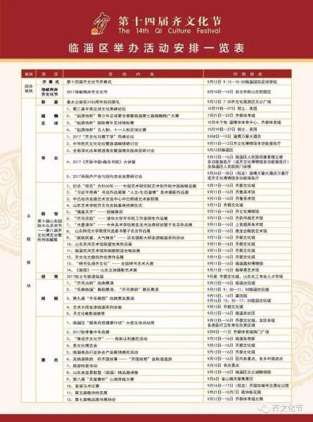 第十四届齐文化节活动安排一览表