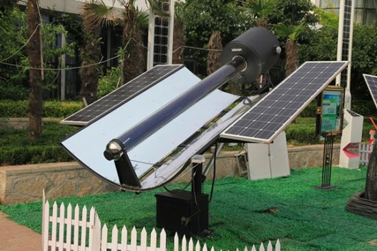 图为皇明太阳能煲烤煮食设备。(图片来源:新浪财经)