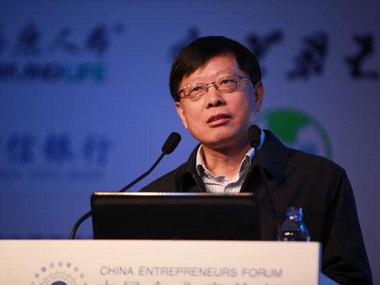 图为中投公司董事长丁学东在亚布力论坛上演讲。(图片来源:新浪财经 梁斌摄)
