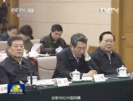 图为:国家能源局局长刘铁男(左二)。(央视截图)