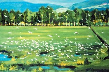 赏析油墨与水粉画演绎的不同田园风光