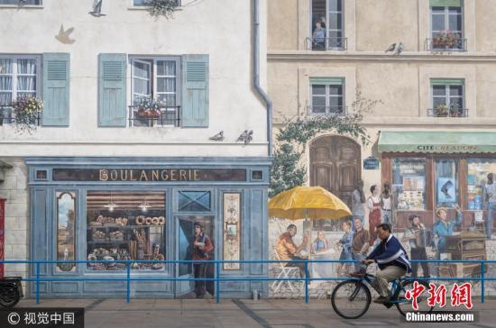 上海现欧式彩绘建筑 整座巴黎被画上墙