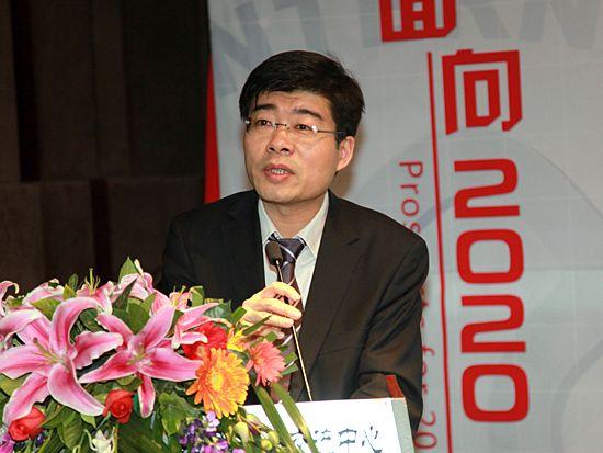 """""""第八届中国文化产业新年论坛""""于2011年1月8日-9日在北京召开。上图为北京银行中小企业事业部总经理章志勇。(资料图片)"""