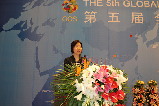 中国服务外包研究中心主任骞芳丽在第五届全球外包大会演讲(图片来源:新浪财经)
