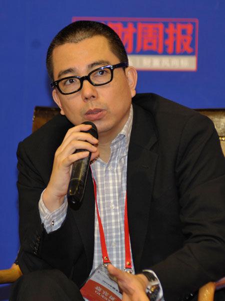"""""""2013中国金融论坛""""于2013年5月21日-23日在北京召开。上图为磐石基金合伙人黄永忠。(图片来源:新浪财经)"""