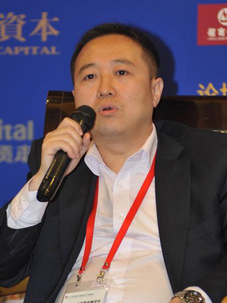 """""""2013中国金融论坛""""于2013年5月21日-23日在北京召开。上图为中国产业园区网总经理王满。(图片来源:新浪财经)"""
